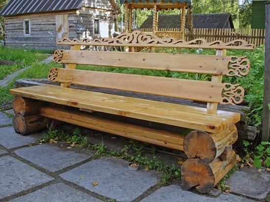 садовая самодельная скамейка