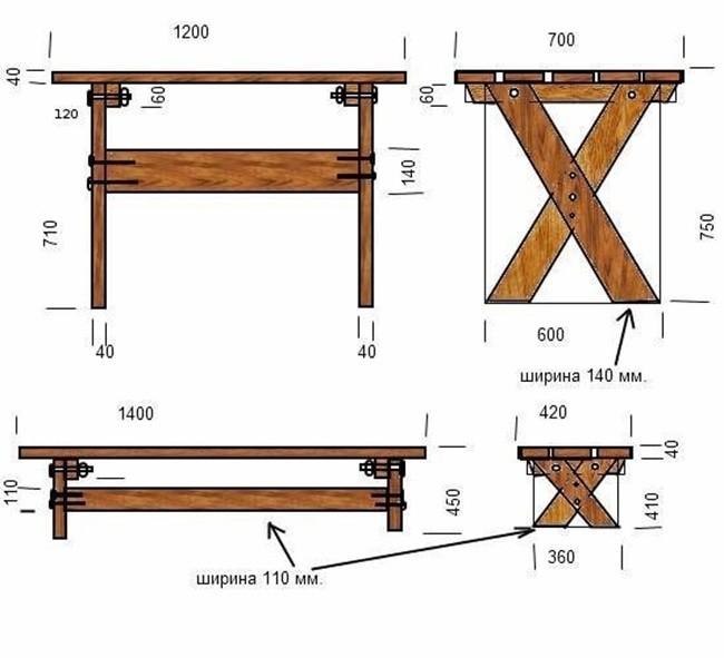 чертеж садовой скамейки своими руками