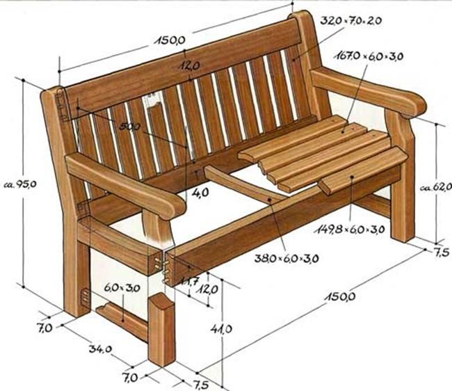 чертеж скамейки садовой