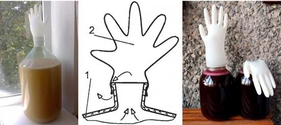 гидрозатвор перчатка для вина