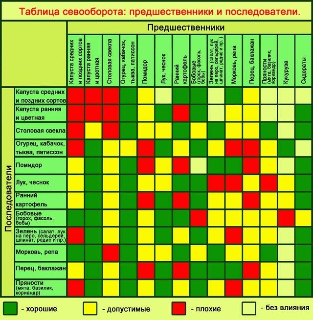таблица севоборота - предшественники и последователи